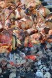 No espeto, carne, carne de porco, carne Imagens de Stock