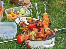 No espeto com os vegetais grelhados em espetos Fotos de Stock Royalty Free