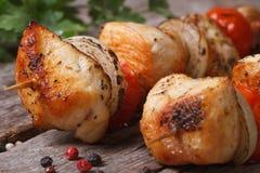 No espeto grelhado delicioso da galinha com vegetais Fotos de Stock