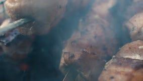 No espeto grelhado no espeto do metal O cozinheiro chefe entrega o cozimento do assado roasted da carne com lotes do fumo Costele vídeos de arquivo