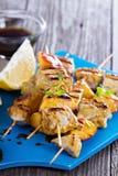 No espeto grelhados da carne de porco com pêssegos Imagem de Stock Royalty Free