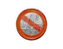 No Euro coin. A old worn euro coin:with the European financial crisis many people start to clain they don't want single European currency anymore Royalty Free Stock Images