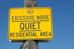 No Excessive Noise. A street sign in what is hopefully a quiet residential area royalty free stock photo