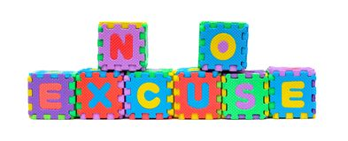 NO EXCUSE shaped by alphabet jigsaw puzzle. On white stock image