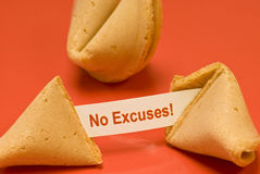 No Excuses Fortune Cookie Stock Photos