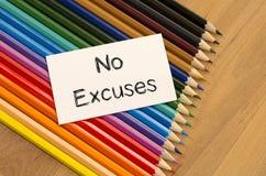 No excuses text concept stock photos