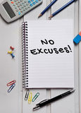 No Excuses word on paper Royalty Free Stock Images