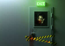 No Exit. A zombie behind a door Royalty Free Stock Image