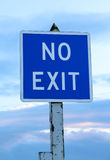 No exit. Sign with a blueish background Royalty Free Stock Photography