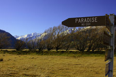 No Exit from Paradise. Roadsign to paradise, unfortunately, with no exit Stock Images