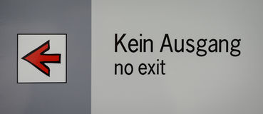 No exit sign with arrow on a plate at Linderhof Royalty Free Stock Photo