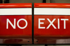 No exit sign. Bright red and white no exit sign royalty free stock photography