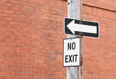 No Exit Sign Royalty Free Stock Photography