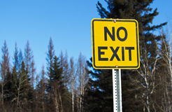 No Exit Sign on a Lonely Country Road Stock Images