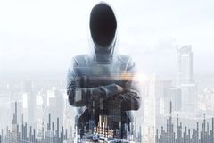No face hacker and financial chart. Double exposure with no face hacker crossing hands and financial chart at megapolis city background. 3D render Royalty Free Stock Images