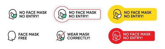 Free No Face Mask No Entry Message To Enter A Public Place. Stop Novel Coronavirus Outbreak Covid-19. Pandemic Editable Line Royalty Free Stock Photo - 177281485