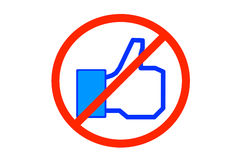 No Facebook. Forbidden sign with Facebook thumb (like icon) in the middle Stock Photo