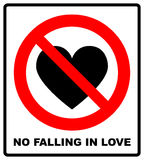No falling in love label. Vector illustration. Royalty Free Stock Photos