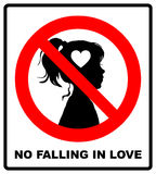No falling in love label. Vector illustration. Stock Photography