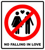 No falling in love label. Vector illustration. Royalty Free Stock Image