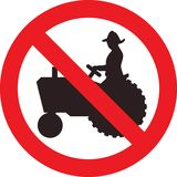 No farm tractor sign Royalty Free Stock Image
