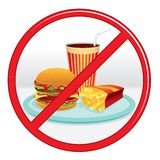 No Fast Food. Prohibition Sign. Vector Label. Stock Photography