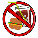No fast food sign. No fast food vector isolated Royalty Free Stock Photography