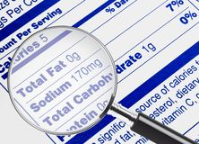 No Fat. Nutrition information being studied under a magnifying glass Royalty Free Stock Photography