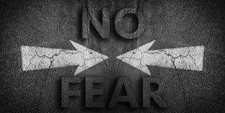 No Fear written on road Stock Photo