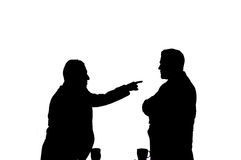 No fighting. Isolated silhouette of two businessmen fighting Stock Photo