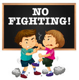 No fighting sign and boy fighting. Illustration Stock Image