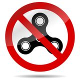 No finger spinner symbol. Vector spiner ban, and stop, prohibition label illustration Royalty Free Stock Image