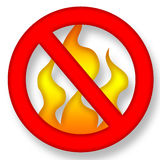 No Fire. Anti Fire Symbol over White Background Illustration Stock Image