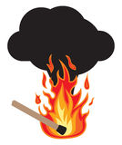 No fire - Attention with fire. Vector illustrations of the No fire - Attention with fire Stock Images