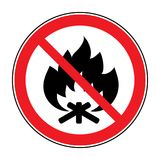 No fire bonfire sign. No Fire sign. Prohibits danger open flame icon. Black silhouette bonfire in red round isolated on white background. Forbidden warning flame Royalty Free Stock Photos