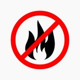 No fire, no flame allowed sign flat.  Royalty Free Stock Image