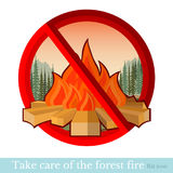 No fire in forest or park. Red circle with bonfire Royalty Free Stock Images