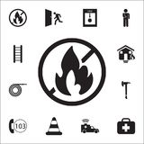 No fire icon. Detailed set of fire guard icons. Premium quality graphic design sign. One of the collection icons for websites, web. Design, mobile app on white Stock Photography