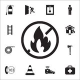 No fire icon. Detailed set of fire guard icons. Premium quality graphic design sign. One of the collection icons for websites, web. Design, mobile app on white Royalty Free Stock Photography