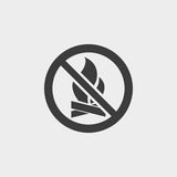 No Fire icon in a flat design in black color. Vector illustration eps10 Stock Photos