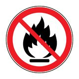 No fire open flame sign. No Fire sign. Prohibits danger open flame icon. Black silhouette in red round isolated on white background. Forbidden warning flame Royalty Free Stock Photos