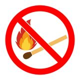 No fire, No open flame sign. No Fire sign. Prohibits danger open flame icon. Silhouette matchstick in red round isolated on white background. Forbidden warning Stock Image