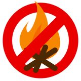 No fire prohibition sign vector illustration. Flat style design. Colorful graphics Stock Photography