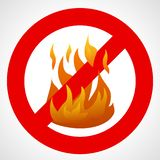 Red prohibition sign with fire flame. No fire. Red prohibition sign with fire flame on white background. Vector illustration royalty free illustration