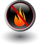No fire sign. Button with no fire sign Stock Images
