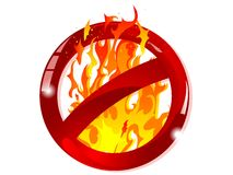 No fire sign. Red glass forbidden sign with the fire Stock Photo
