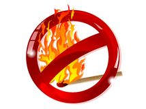 No fire sign. Red glass forbidden sign with the fire Royalty Free Stock Photography