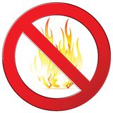 No fire sign. Forbidding vector signs no fire, no camping fire sign. Isolated on white Stock Photo