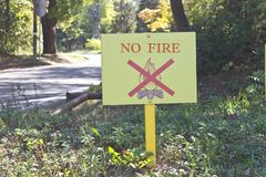 No fire sign at the forest Royalty Free Stock Photo