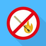 No fire sign icon, flat style vector illustration